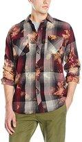 Akademiks Men's Aurora Bleach Splatter Plaid Shirt