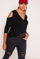 Missguided Plus Size Cold Shoulder Tunic Top Black
