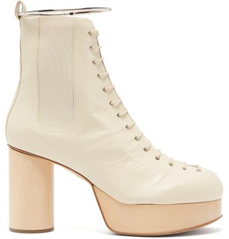 Jil Sander Ankle-bracelet Leather Platform Boots - Womens - White