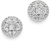 Bloomingdale's Diamond Baguette and Round Halo Stud Earrings in 18K White Gold, 1.75 ct. t.w. - 100% Exclusive