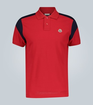 Moncler Paneled cotton polo shirt