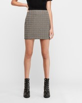 Express High Waisted Marled Houndstooth Straight Mini Skirt