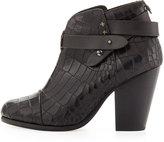 Rag and Bone Rag & Bone Harrow Crocodile-Embossed Ankle Boot, Black