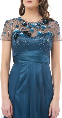 JS Collections Floral 3D Embellished Bodice Gown