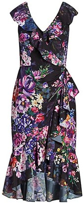 Marchesa Notte Floral Crepe High-Low Dress