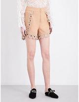 Self-portrait Nude (light Salmon) Curved Hem Crepe Shorts