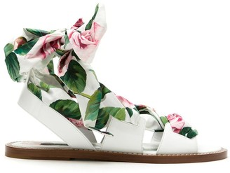 Dolce & Gabbana Tropical Rose lace-up sandals