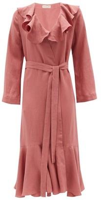 Casa Raki - Esme Ruffled Organic-linen Wrap Dress - Dark Pink