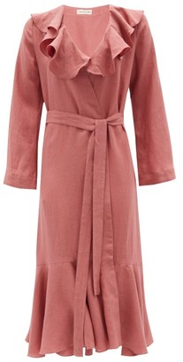 Casa Raki - Esme Ruffled Organic-linen Wrap Dress - Womens - Dark Pink