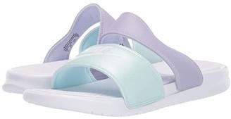 Nike Benassi Duo Ultra Slide (White/White/Oxygen Purple/Teal Tint) Women's Slide Shoes