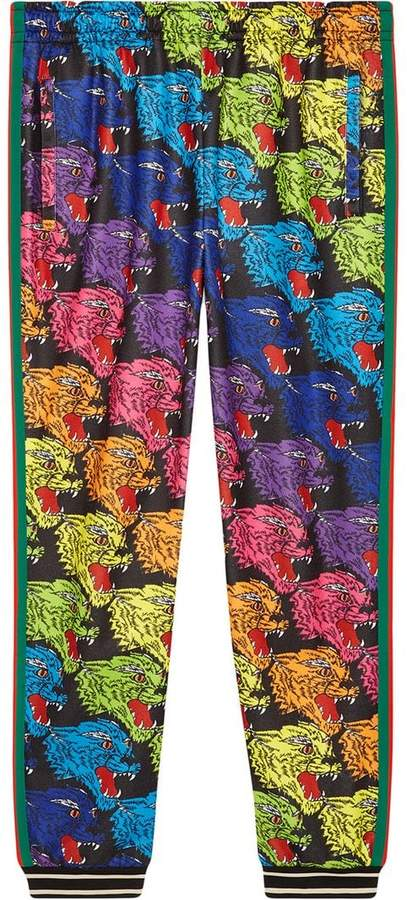 Gucci Panther face technical jersey jogging pants
