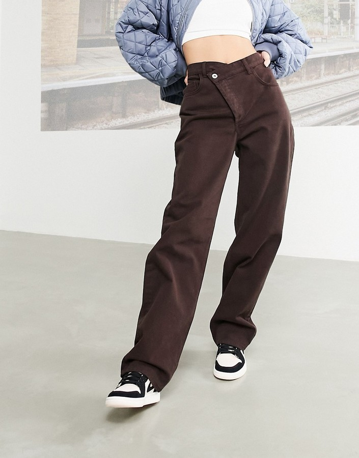 Thumbnail for your product : Collusion x014 stepped waistband dad jeans in brown