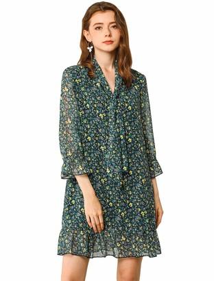 Allegra K Women's Floral Print Ruffle Hem Bell Sleeve Chiffon Loose Shift Dress Green 12