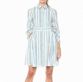 Taylor Dresses Women's Sleeve Interest Stripe Shirt Dress