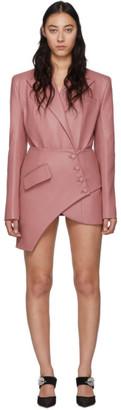 MATÉRIEL Pink Faux-Leather Corset Blazer