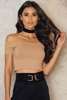 Off Shoulder Cropped Jersey Top
