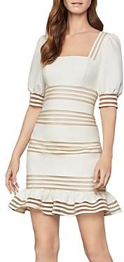 BCBGMAXAZRIA Ruffled Puff-Sleeve Dress