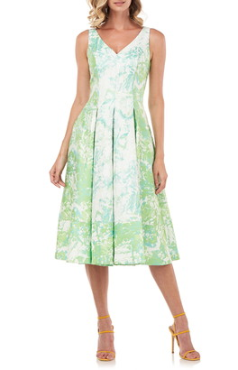 Kay Unger Abstract Print Midi Cocktail Dress