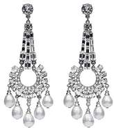 Ben-Amun Ben Amun Swarovski Crystal Baguette-round Cuts Pearl Drop Post Earrings.