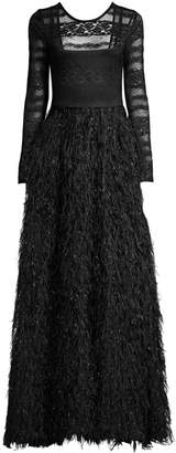 BCBGMAXAZRIA Organza Feathered Gown