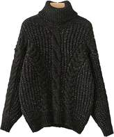 black cable knit turtleneck sweater - ShopStyle