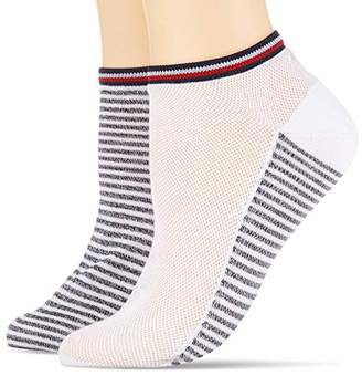 Tommy Hilfiger Women's Th Resort Sneaker 2p Calf Socks,(Size: 039) (Pack of 2)