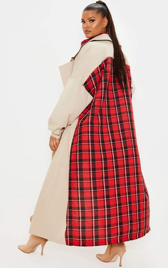 PrettyLittleThing Plus Stone Contrast Panel Trench