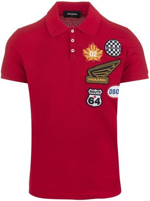 DSQUARED2 Man Red Polo Shirt With Logo Patches