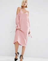 Asos 100% Silk Cami Dress With Sleeve Detail