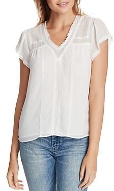 1 STATE V-Neck Lace Trim Blouse