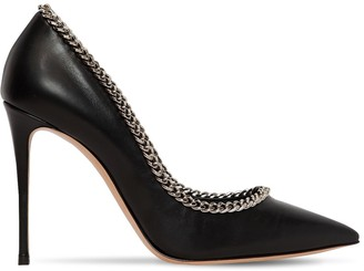 Casadei 100mm Chained Leather Pumps