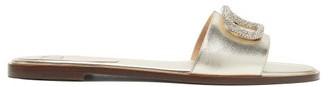 Valentino V-logo Crystal-embellished Leather Slides - Gold