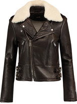 Maje Shearling-Trimmed Leather Biker Jacket