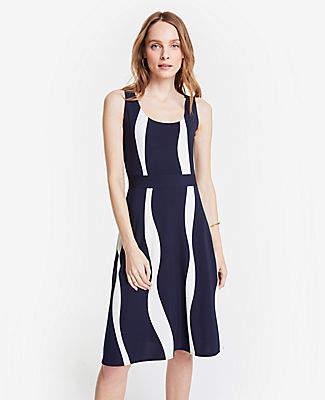 7863bb5af64 Ann Taylor Petite Wavy Stripes Knit Flare Dress
