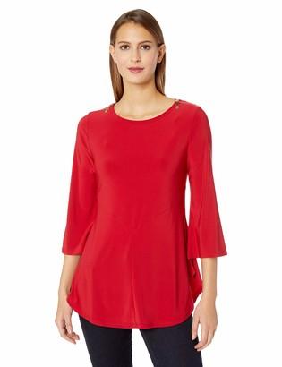 Chaus Women's 3/4 SLV Zip Shoulder Top