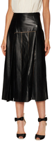 Carolina Herrera Leather Laser-Cut Panel Midi Skirt