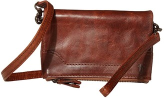 Frye Melissa Leather Stadium Bag Crossbody (Carbon) Cross Body Handbags