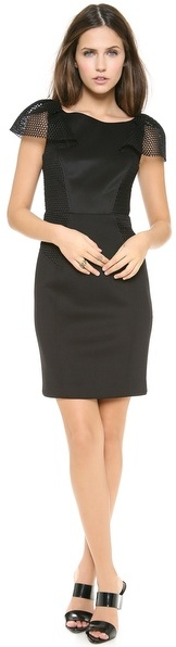 Milly Gathered Sleeve Sheath Dress