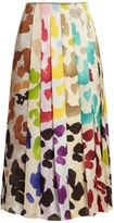 Marco De Vincenzo Painterly-print satin midi skirt