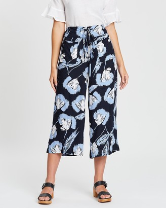 KAJA Clothing - Women's Navy Cropped Pants - Zaria Culottes - Size One Size, M at The Iconic