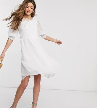 Vero Moda Tall tall square neck dobby mesh flare dress
