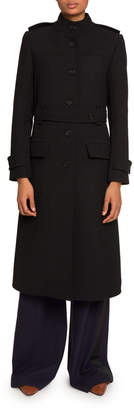 Chloé High-Neck Belted Button-Front Coat