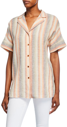 Lafayette 148 New York Wendell Skyscape Stripe Button-Down Linen Blouse