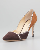 Alexandre Birman Suede Wiindowpane Pointy Pump