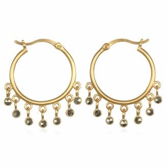 Satya Jewelry Women's Pyrite Gold Hoop Earrings One Size