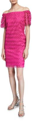 Trina Turk Seaway Zigzag Eyelash Lace Off-the-Shoulder Short-Sleeve Dress