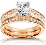 Kobelli Jewelry 1.33 CT TW Diamond 14K Rose Gold Bridal Set Ring