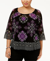 INC International Concepts Plus Size Flounce Peasant Top, Only at Macy's