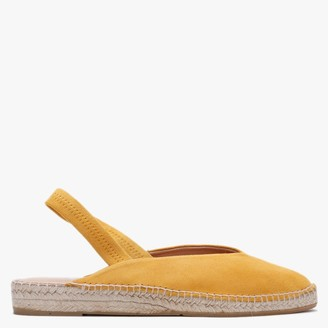 Carmen Saiz Yellow Suede Pointed Toe Elasticated Sling Back Espadrilles