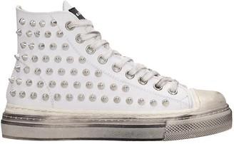 Gienchi J.m.high Sneakers In White Rubber/plasic